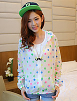 Women's Polka Dot Pink/White/Green/Orange/Yellow Coat , Casual Long Sleeve Cotton Blends