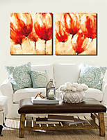 VISUAL STAR®2 panel Tulip Flower Canvas Oil Painting Stretched Canvas Print Home Goods Decor Ready to Hang