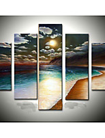 Hand-Painted Gold Beach Seascape Sun Oil Painting on Canvas  5pcs/set Without Frame