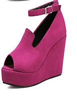 Women's Shoes Fleece Wedge Heel Wedges/Peep Toe Sandals Casual Black/Red