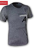 Tee-Shirt Décontracté/Travail/Sport Pour des hommes Manches Courtes A Motifs/Couleur plaine Mélange de Coton