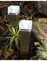 Solar Power LED Ground Crystal Glass Ice Brick Shape White Outdoor Yard Garden Deck Road Path Light