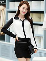 SEXY TOY®Women's Casual/Work Inelastic Long Sleeve Long Shirt (Cotton/Linen)