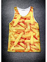 European Style Double Net Hole Vest Digital Printing 3D Sleeveless French Fries Harajuku Vest