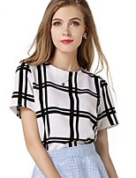 Women's All Match Ethos Fashion Plaid Short Sleeve Loose T-shirt