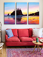 E-HOME® Seaside Scenery Clock in Canvas 3pcs