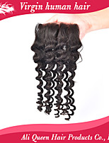 Ali Queen hair products Brazilian Lace Closure Deep Wave, 6A 4x4 swiss lace closure deep wave curly