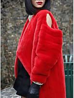 Fur Coats Coats/Jackets Long Sleeve Faux Fur Black/Camel/Red/White/Fuchsia