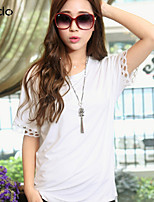 Women's White T-shirt , Casual Round Neck Short Sleeve Hollow Out