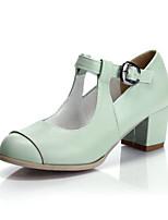 Women's Shoes Faux  Chunky Heel Heels/T-Strap/Closed Toe Pumps/Heels Office & Career/Dress/Casual Green/Pink/Beige