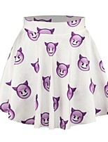 PinkQueen Women's Polyester/Spandex Cute Cartoon Demon Printed Pleated Skirt