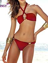 SYU®Women's Underwire Bra/Padless Bra Color Block/Floral/Solid/Geometric Halter Bikinis (Nylon/Spandex)