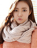 Women Pure Color Warm Twist Collar Knitwear Scarf