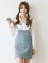Women's Blue Denim Skirt , Vintage/Casual/Cute/Work Strap Sleeveless Zipper