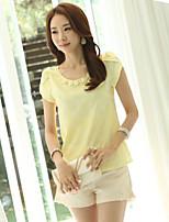 Women's Casual Micro-elastic Short Sleeve Regular Blouse (Polyester)