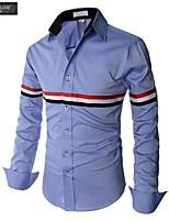 JESUNLOM®Man's Shirt Fashion Long Sleeve Korean Style Stripe Shirt Young Man  Casual All-Match Under Shirt