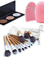 11pcs Makeup Cosmetic Eyebrow Foundation Kabuki Brushes Kits+3 Colors Face Powder Makeup Palette+Brush Cleaning Tool