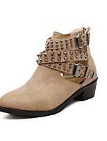 Chaussures Femme Similicuir Talon Bas Bottine Bottes Extérieure/Décontracté Noir/Gris