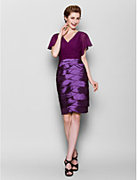 Sheath/Column Mother of the Bride Dress - Grape Knee-length Short Sleeve Chiffon/Stretch Satin