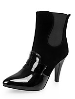 Women's Shoes Fleece/Patent Leather Stiletto Heel Fashion Boots/Pointed Toe Boots Dress Black/Red/Beige/Orange