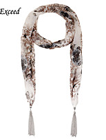D Exceed  Korean Style Winter Fashionable Scarf Floral Printed Chiffon Scarves with Silver Plated Tassel Scarfs
