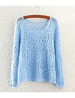 Women's Casual/Work Micro-elastic Medium Long Sleeve Pullover