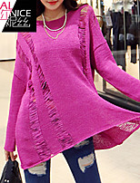 Women's Solid Pink Pullover , Casual Long Sleeve Hollow Out