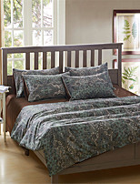 H&C 100% Cotton 1200TC Duvet Cover Set 4-Piece Deep Green And Black Flowers Pattern HT-007