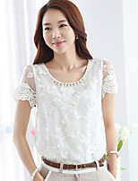 Women's Solid White T-shirt , Round Neck Short Sleeve Beaded