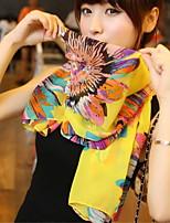 Women Cute Sunflower Chiffon Scarf