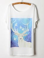Women's Print/Character White T-shirt , Round Neck Short Sleeve