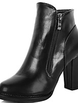 Women's Shoes Chunky Heel Bootie/Combat Boots/Round Toe Boots Casual Black