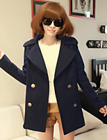 Women's Casual Lapel Double Breasted Thick Long Sleeve Loose Coat