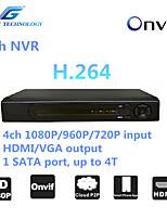 grande NVR 4ch con la compatibilità onvif2.4, 4 canali 1080p / 960p / 720p in ingresso