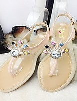 Women's Shoes Flat Heel Round Toe Sandals Casual Pink/Beige