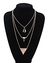 Women's European Style Fashion Simple Multilayer Triangle Alloy Necklace