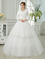 Ball Gown Ankle-length Wedding Dress -High Neck Satin