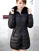 Women's Casual Plus Sizes Thick Long Sleeve Long Parka (Polyester)