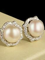 Women's Silver Stud Earrings With Imitation Pearl/Cubic Zirconia