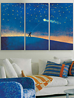 E-HOME® Stretched LED Canvas Print Art A Star LED Flashing Optical Fiber Print Set of 3