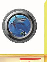 pegatinas etiquetas de la pared, ventana tiburón etiqueta de la pared del pvc 3d océano