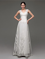 A-line Wedding Dress - White Sweep/Brush Train V-neck Tulle