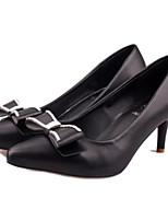 Women's Shoes Faux Leather Low Heel Heels Pumps/Heels Casual Black/White/Silver