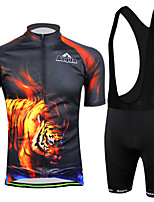 Outdoor Sports  Men's Short Sleeve Cycling Jersey and Bib Shorts Set