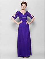 Sheath/Column Mother of the Bride Dress - Royal Blue Floor-length Half Sleeve Chiffon