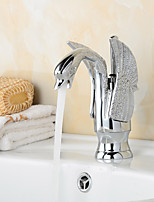 Contemporary Chrome Finish Swan Shape Bathroom Basin Faucet (Short) - Sliver