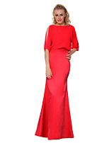 Sheath/Column Mother of the Bride Dress - Orange / Ruby Floor-length Satin Chiffon