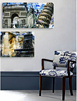 E-HOME® Stretched Canvas Art Famous European Architecture Decorative Painting Set of 2