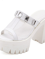 Women's Shoes Tulle Chunky Heel Round Toe Sandals Casual White