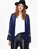Women's Vintage Sexy Beach Casual Lace Long Sleeve Cardigan , Chiffon Thin